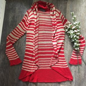 Wooden Ships | Red & Cream Striped Cardigan